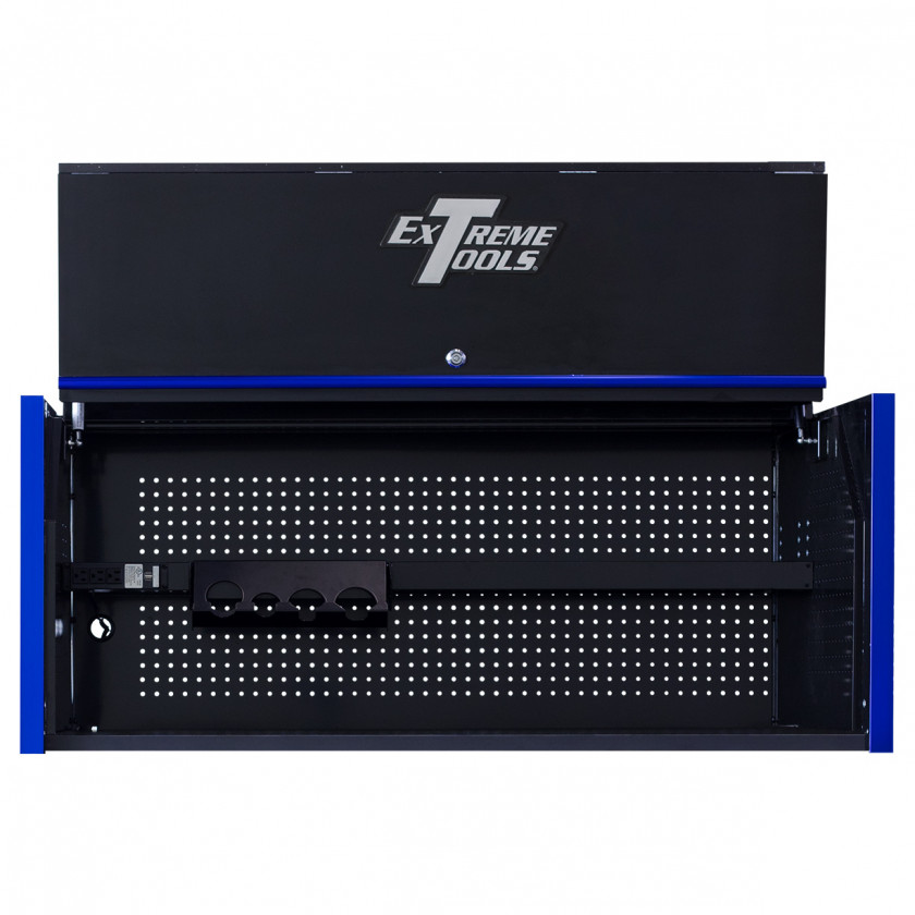 Extreme Tools RX 55 x 25 Power Workstation Hutch - RX552501HCBKBL-Open-Lid