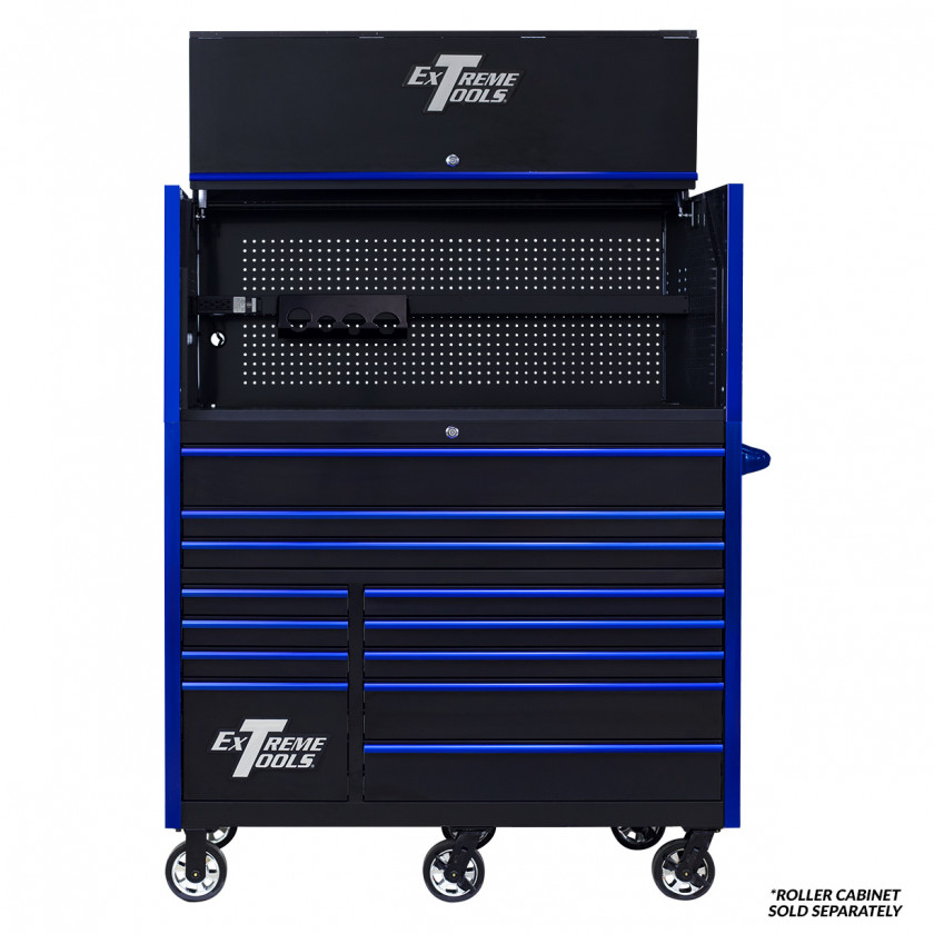 Extreme Tools RX 55 x 25 Power Workstation Hutch - RX552501HCBKBL-Open-Lid-Shown with Roller