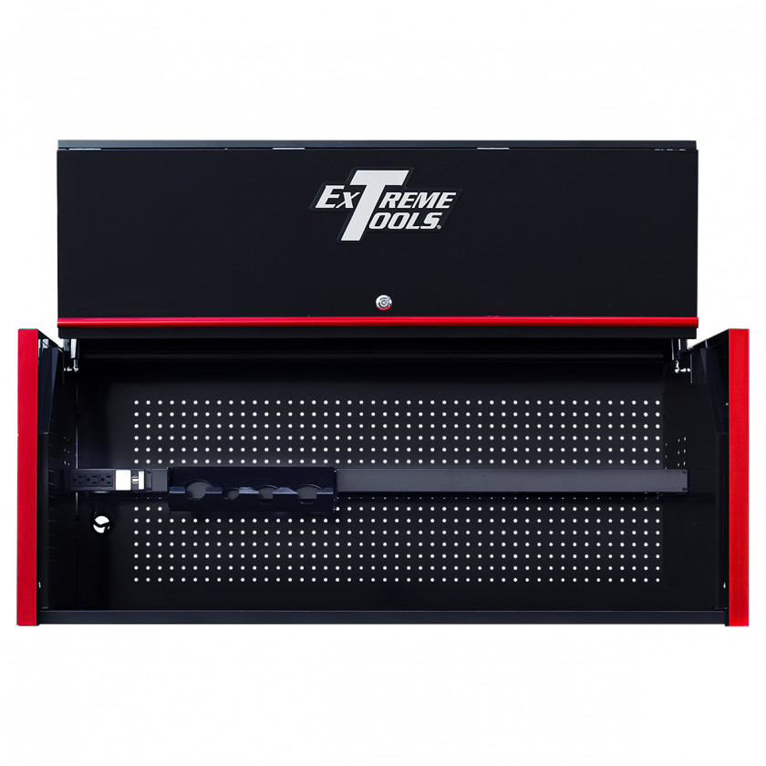 Extreme Tools RX 55 x 25 Power Workstation Hutch - RX552501HCBKRD-Open-Lid