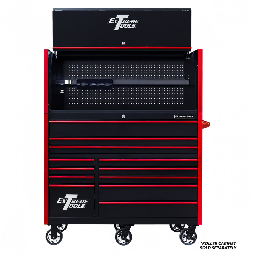 Extreme Tools RX 55 x 25 Power Workstation Hutch - RX552501HCBKRD-Open-Lid-Shown with Roller