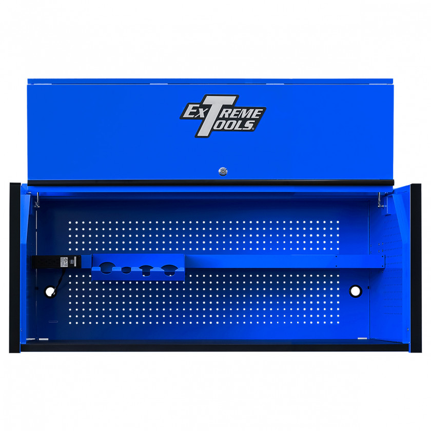 Extreme Tools RX 55 x 25 Power Workstation Hutch - RX552501HCBLBK-Open-Lid