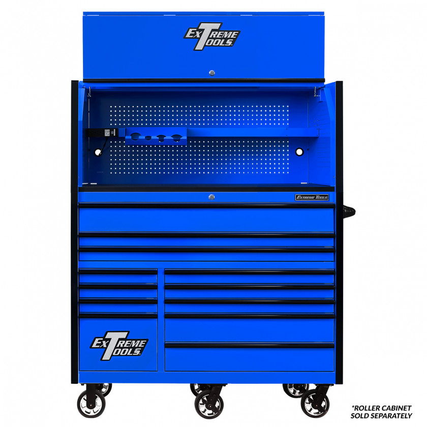 Extreme Tools RX 55 x 25 Power Workstation Hutch - RX552501HCBLBK-Open-Lid-shown with Roller