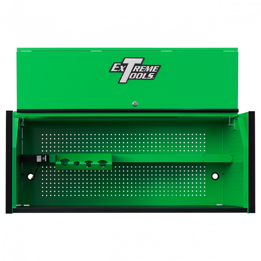 Extreme Tools RX 55 x 25 Power Workstation Hutch - RX552501HCGNBK-Open-Lid