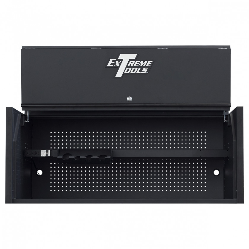Extreme Tools RX 55 x 25 Power Workstation Hutch - RX552501HCMBBK-Open-Lid