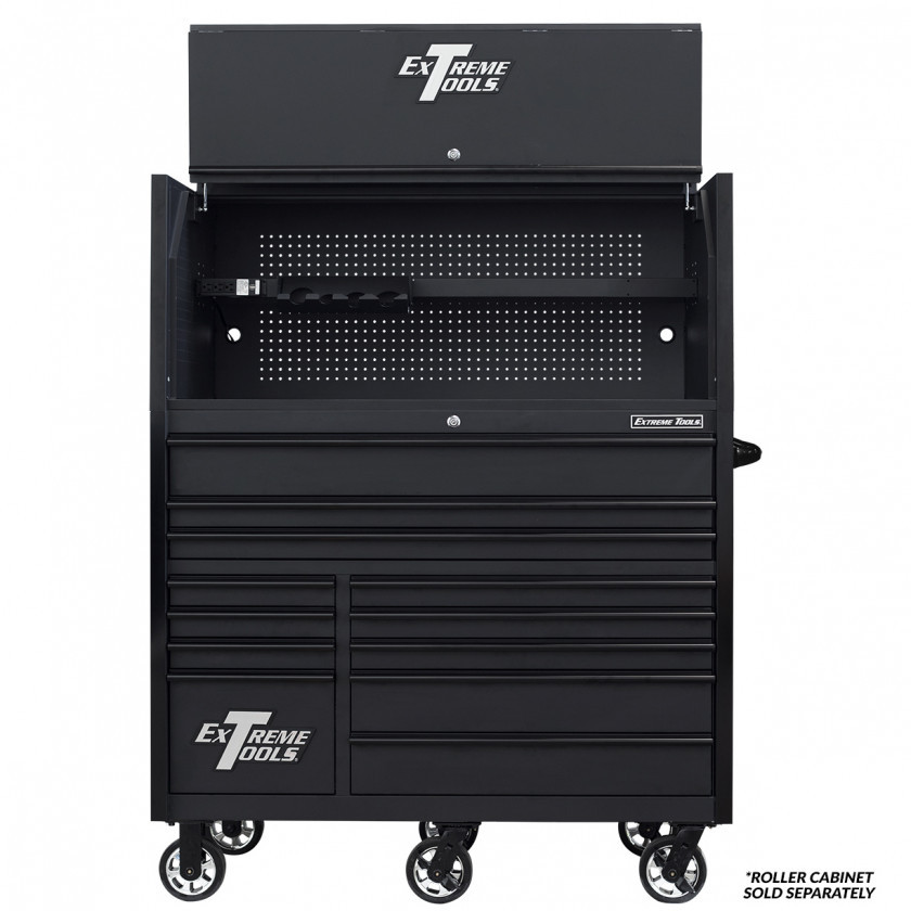 Extreme Tools RX 55 x 25 Power Workstation Hutch - RX552501HCMBBK-Open-Lid-shown with Roller
