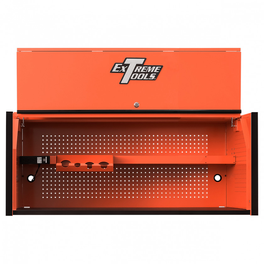 Extreme Tools RX 55 x 25 inch Worstation Hutch -RX552501HCORBK-Open-Lid