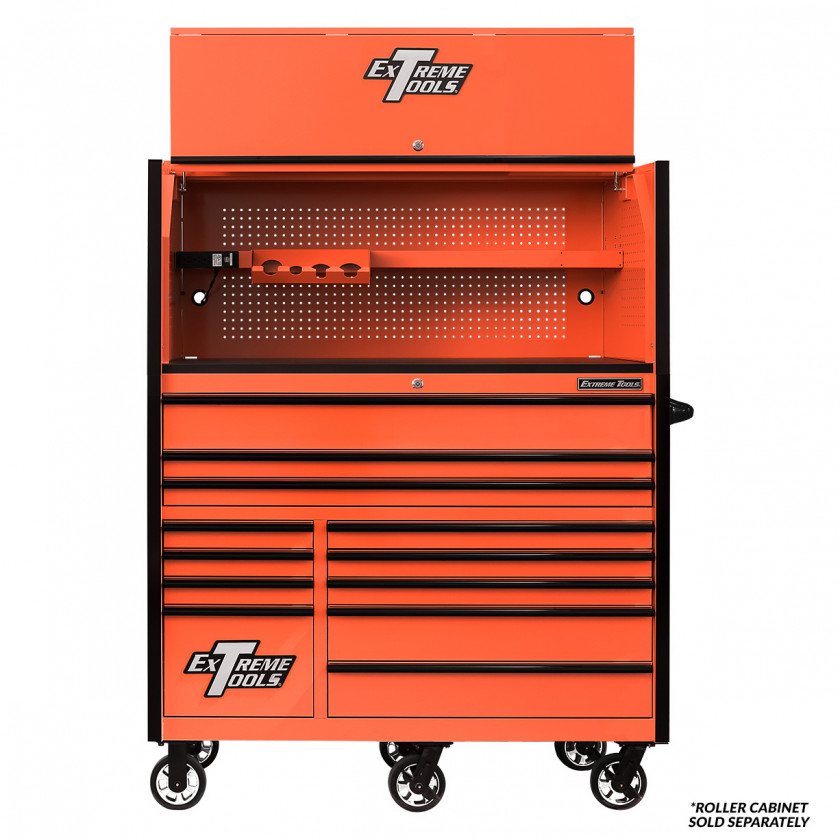 Extreme Tools RX 55 x 25 inch Worstation Hutch -RX552501HCORBK-Open-Lid-Shown with Roller