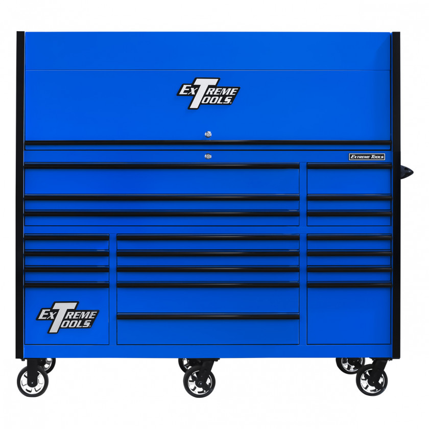 RX723019RCBLBK-CLOSED-FRONT - Extreme Tools 72 x 30in 19 Drawers Triple Bank Roller Cabinet and Power Workstation Hutch Combo - Blue Black