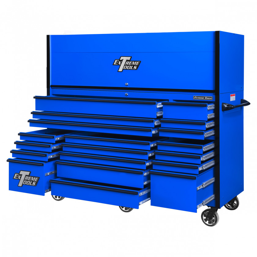 RX723019RCBLBK-OPEN-BOTTOM-LOW-RIGHT - Extreme Tools 72 x 30in 19 Drawers Triple Bank Roller Cabinet and Power Workstation Hutch Combo - Blue Black