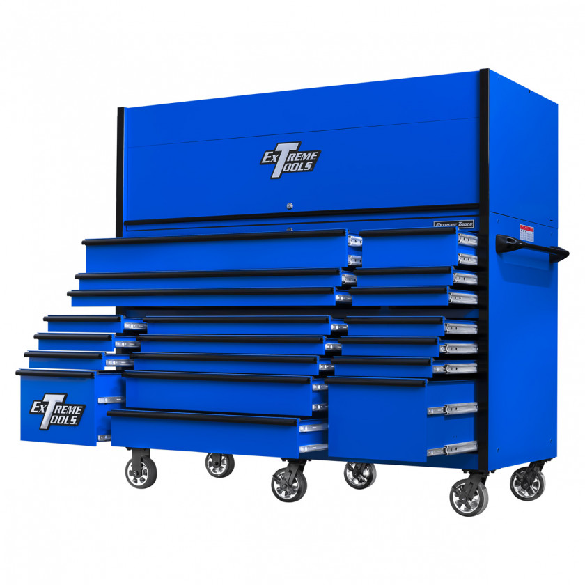 RX723019RCBLBK-OPEN-BOTTOM-RIGHT - Extreme Tools 72 x 30in 19 Drawers Triple Bank Roller Cabinet and Power Workstation Hutch Combo - Blue Black
