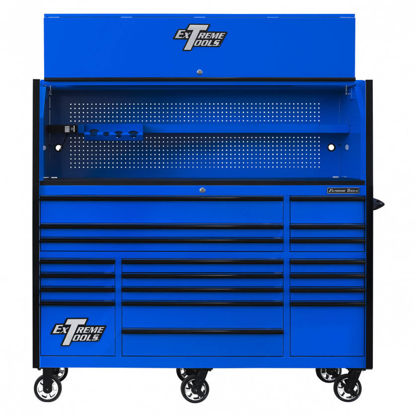 RX723019RCBLBK-OPEN-FRONT - Extreme Tools 72 x 30in 19 Drawers Triple Bank Roller Cabinet and Power Workstation Hutch Combo - Blue Black