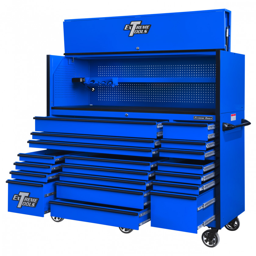 RX723019RCBLBK-OPEN-RIGHT - Extreme Tools 72 x 30in 19 Drawers Triple Bank Roller Cabinet and Power Workstation Hutch Combo - Blue Black