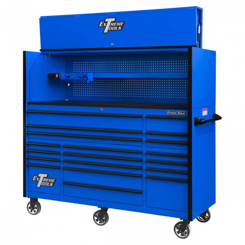 RX723019RCBLBK-OPEN-RIGHT-LOW - Extreme Tools 72 x 30in 19 Drawers Triple Bank Roller Cabinet and Power Workstation Hutch Combo - Blue Black
