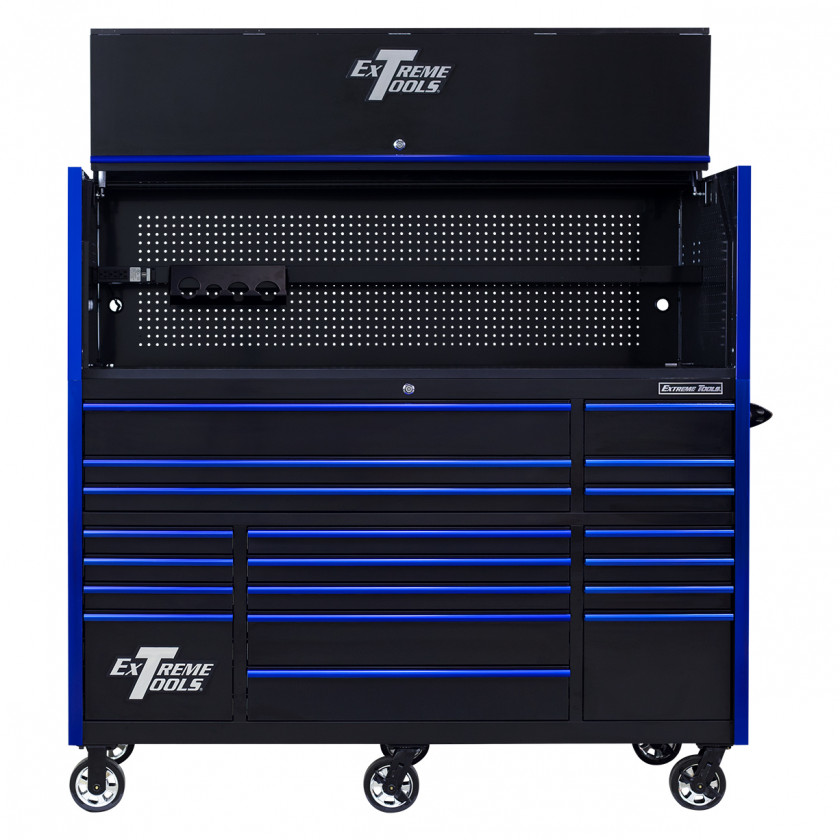 RX723020HRBKBL-OPEN-FRONT - Extreme Tools 72 x 30in 19 Drawers Triple Bank Roller Cabinet and Power Workstation Hutch Combo - Black Blue
