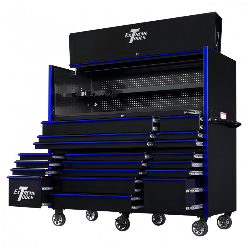 RX723020HRBKBL-OPEN-RIGHT-LOW - Extreme Tools 72 x 30in 19 Drawers Triple Bank Roller Cabinet and Power Workstation Hutch Combo - Black Blue