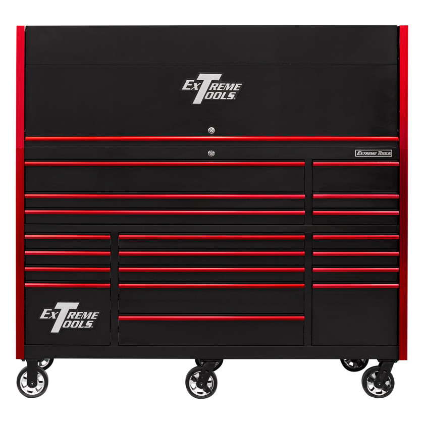 RX723020HRBKRD-CLOSED-FRONTRX723019RCBLB-OPEN-RIGHT-LOW-Extreme-Tools-72-x-30in-19-Drawers-Triple-Bank-Roller-Cabinet-and-Power-Workstation-Hutch-Combo-Black-Red
