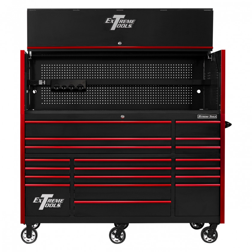 RX723020HRBKRD-OPEN-FRONT - Extreme Tools 72 x 30in 19 Drawers Triple Bank Roller Cabinet and Power Workstation Hutch Combo - Black Red