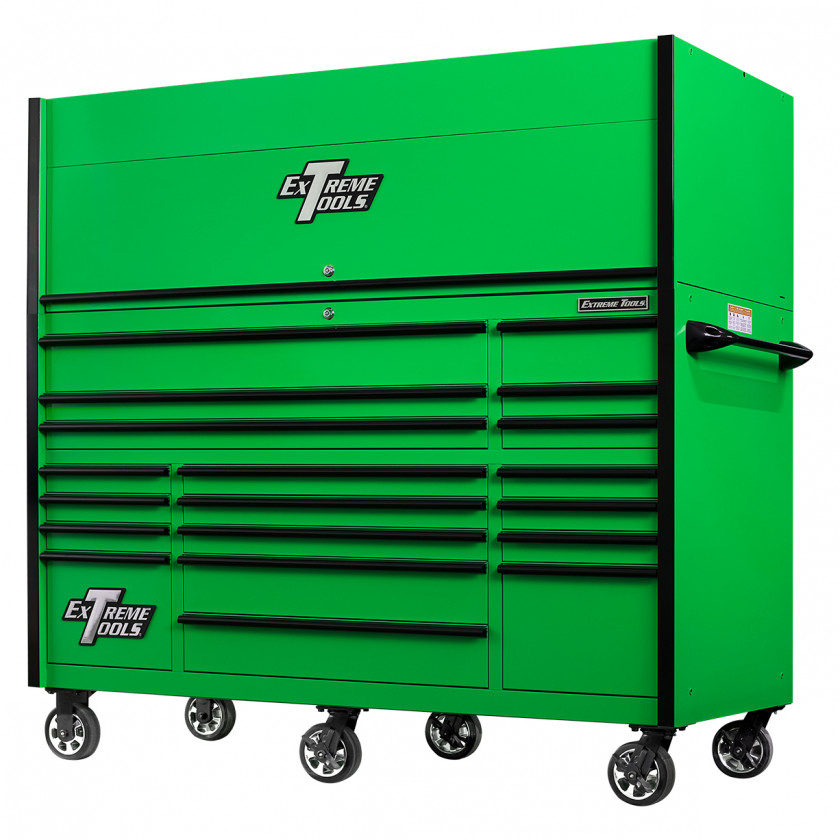 RX723020HRGNBK-CLOSED-RIGHT-LOW - Extreme Tools 72 x 30in 19 Drawers Triple Bank Roller Cabinet and Power Workstation Hutch Combo - Green Black