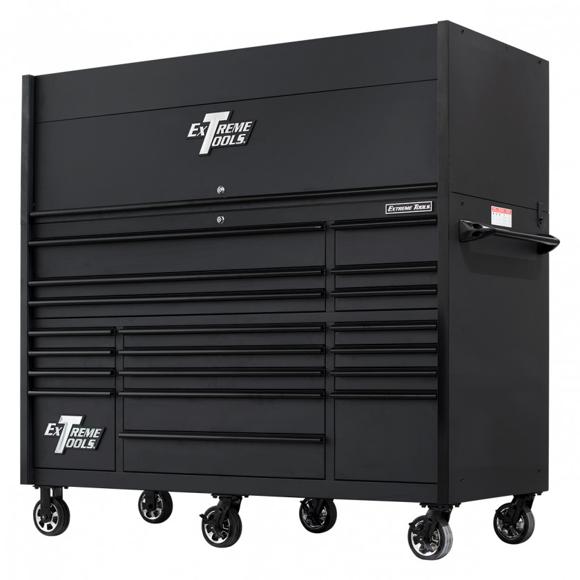 RX723020HRMBBK-ALL-CLOSED-RIGHT-LOW - Extreme Tools 72 x 30in 19 Drawers Triple Bank Roller Cabinet and Power Workstation Hutch Combo - Matte Black