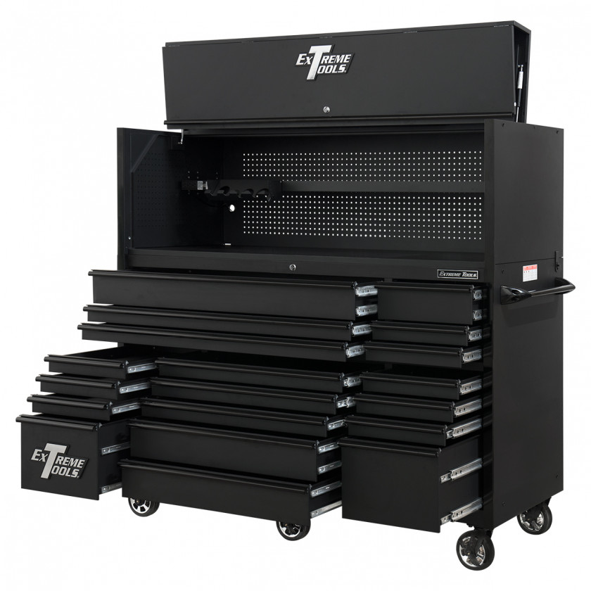 RX723020HRMBBK-ALL-OPEN-RIGHT - Extreme Tools 72 x 30in 19 Drawers Triple Bank Roller Cabinet and Power Workstation Hutch Combo - Matte Black