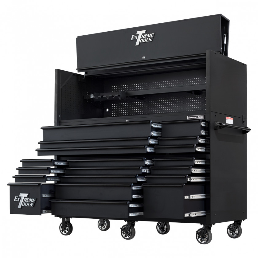 RX723020HRMBBK-ALL-OPEN-RIGHT-LOW - Extreme Tools 72 x 30in 19 Drawers Triple Bank Roller Cabinet and Power Workstation Hutch Combo - Matte Black