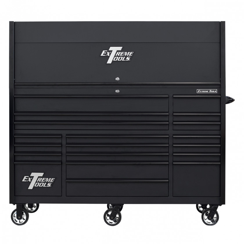 RX723020HRMBBK-CLOSED-FRONT - Extreme Tools 72 x 30in 19 Drawers Triple Bank Roller Cabinet and Power Workstation Hutch Combo - Matte Black