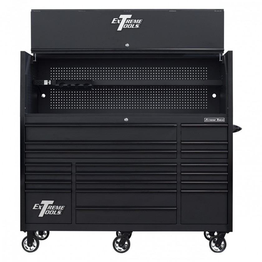 RX723020HRMBBK-OPEN-FRONT - Extreme Tools 72 x 30in 19 Drawers Triple Bank Roller Cabinet and Power Workstation Hutch Combo - Matte Black