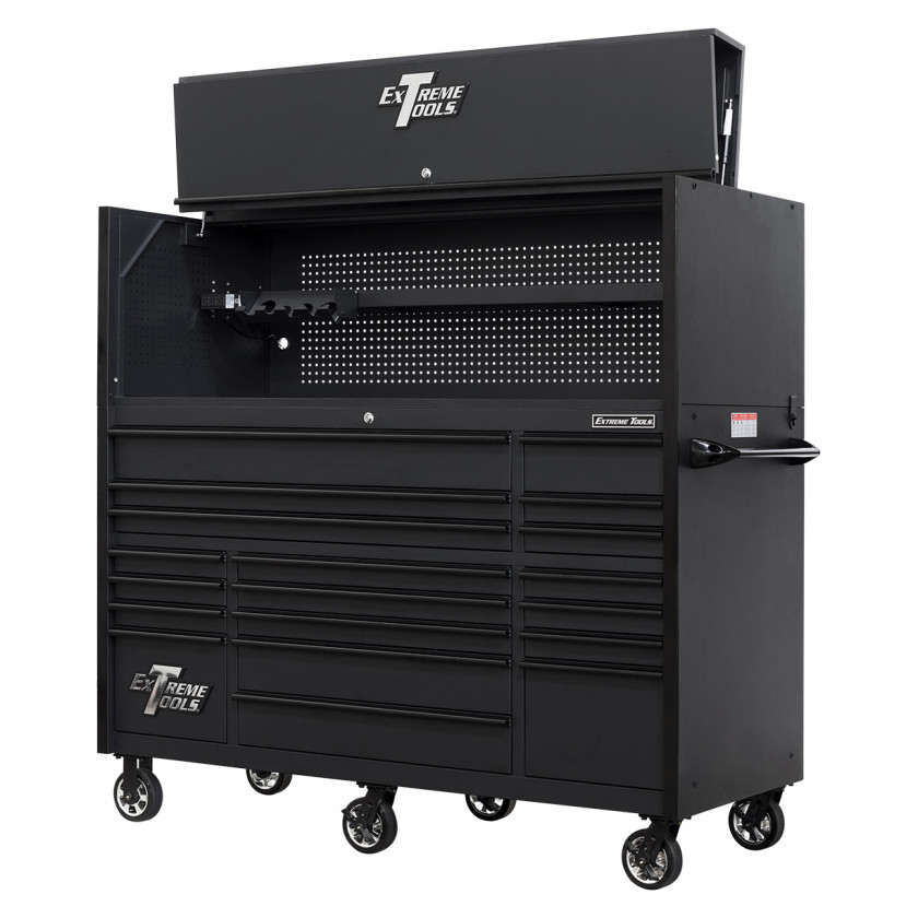 RX723020HRMBBK-TOP-OPEN-RIGHT-LOW-2 - Extreme Tools 72 x 30in 19 Drawers Triple Bank Roller Cabinet and Power Workstation Hutch Combo - Matte Black