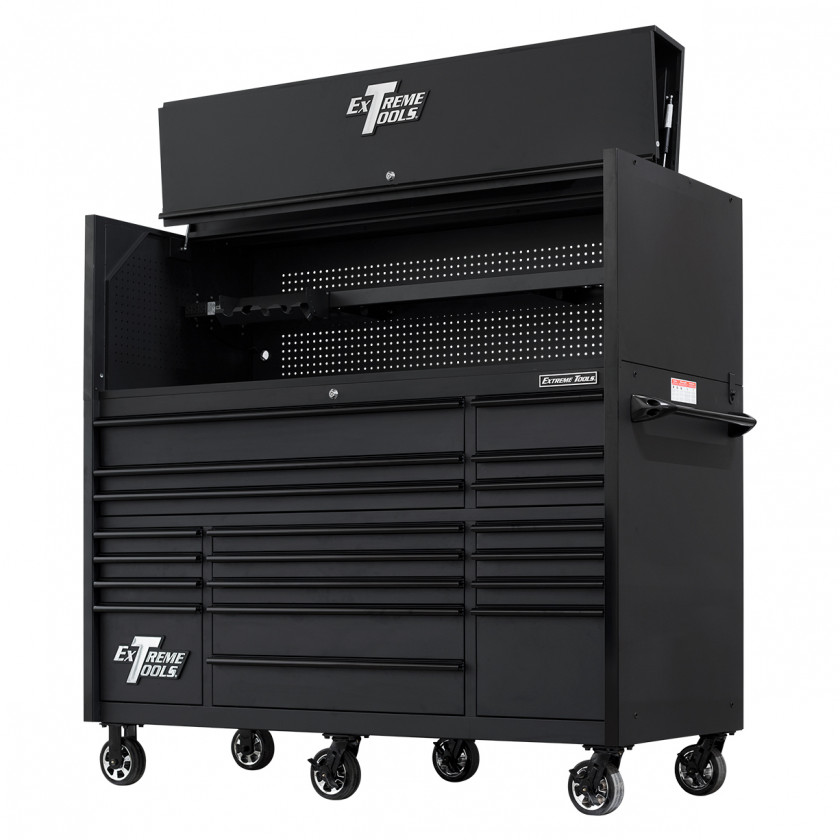 RX723020HRMBBK-TOP-OPEN-RIGHT-LOW - Extreme Tools 72 x 30in 19 Drawers Triple Bank Roller Cabinet and Power Workstation Hutch Combo - Matte Black