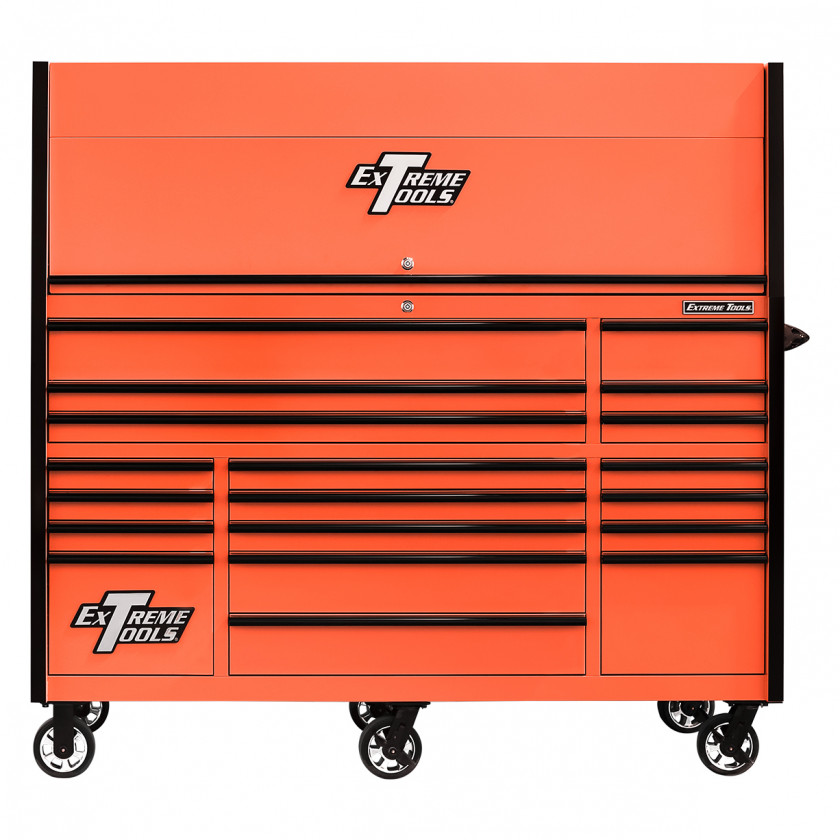 RX723020HRORBK-CLOSED-FRONT - Extreme Tools 72 x 30in 19 Drawers Triple Bank Roller Cabinet and Power Workstation Hutch Combo - Orange