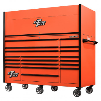 RX723020HRORBK-CLOSED-RIGHT-LOW -Extreme Tools 72 x 30in 19 Drawers Triple Bank Roller Cabinet and Power Workstation Hutch Combo - Orange