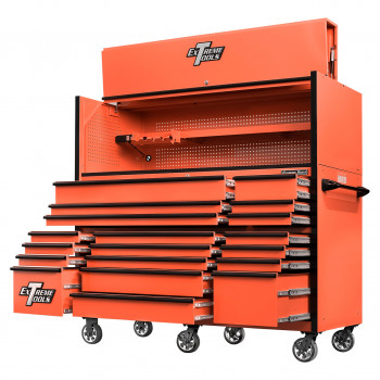 RX723020HRORBK-OPEN-RIGHT-LOW -Extreme Tools 72 x 30in 19 Drawers Triple Bank Roller Cabinet and Power Workstation Hutch Combo - Orange