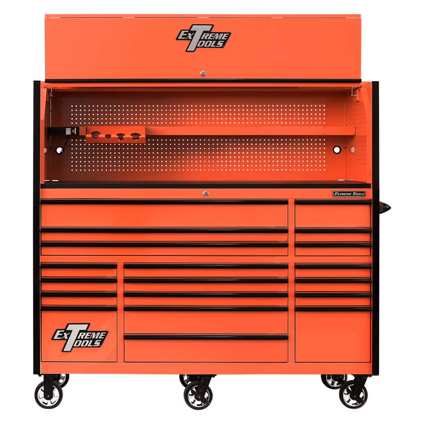 RX723020HRORBK-OPEN-TOP-FRONT -Extreme Tools 72 x 30in 19 Drawers Triple Bank Roller Cabinet and Power Workstation Hutch Combo - Orange
