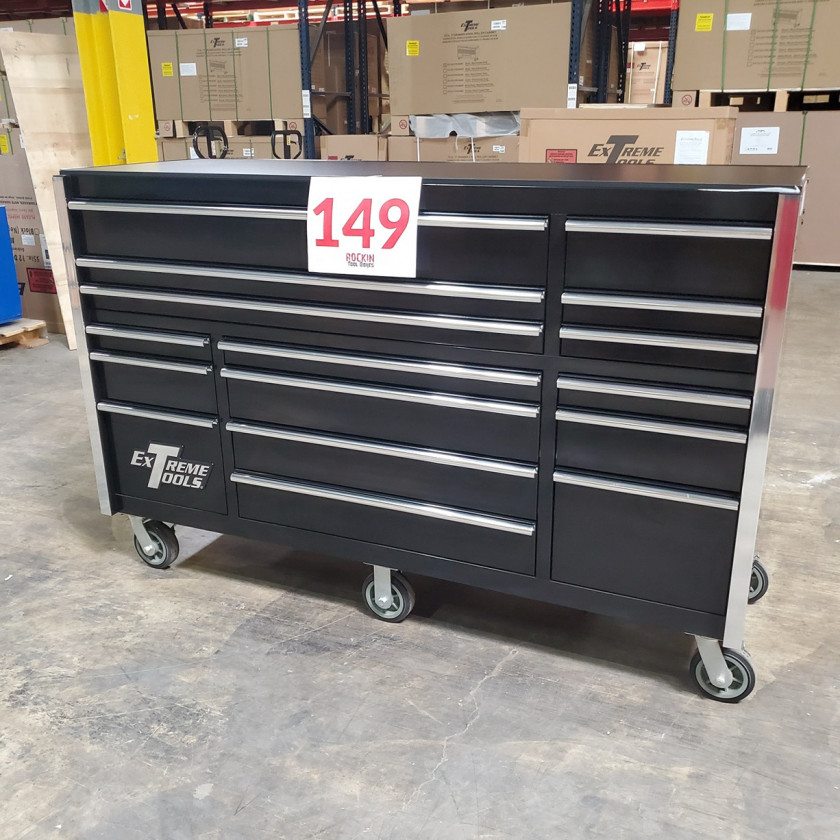 SD-RX722516RCBK _ Scratch & Dent - Extreme Tools 72in. 16 Drawers Roller Cabinet _ Black with Chrome_01