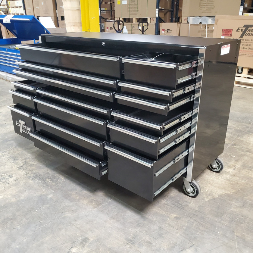 SD-RX722516RCBK _ Scratch & Dent - Extreme Tools 72in. 16 Drawers Roller Cabinet _ Black with Chrome_16
