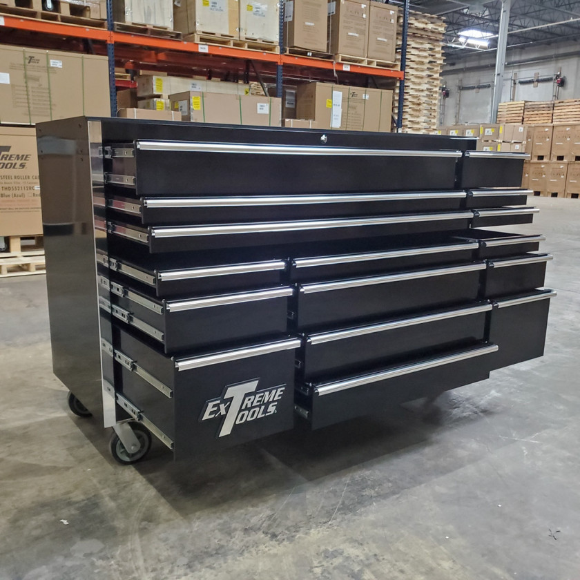 SD-RX722516RCBK _ Scratch & Dent - Extreme Tools 72in. 16 Drawers Roller Cabinet _ Black with Chrome_31