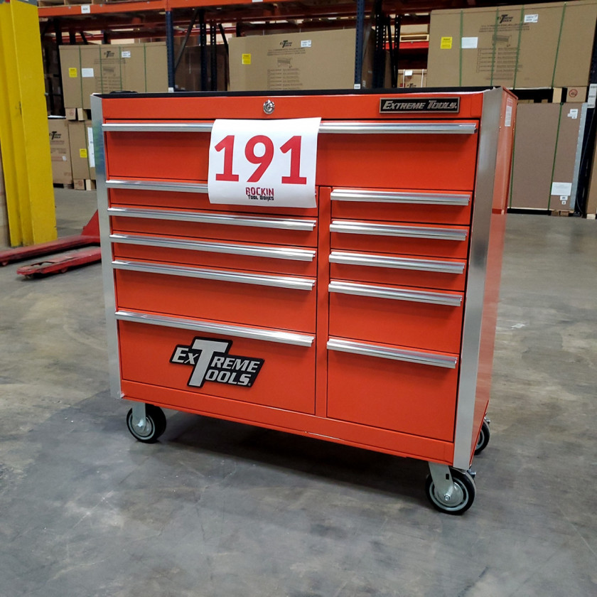 Scratch and Dent _ SD-EX4111RCOR _ Extreme Tools 41 in. 11 Drawer Roller Cabinet, Orange with Chrome Handles_01