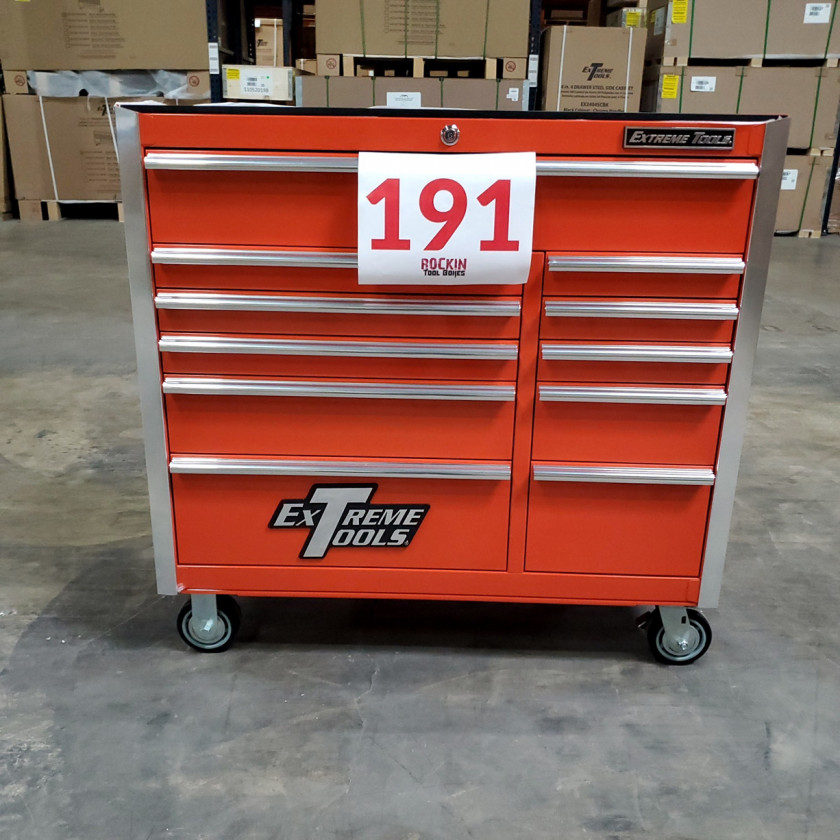 Scratch and Dent _ SD-EX4111RCOR _ Extreme Tools 41 in. 11 Drawer Roller Cabinet, Orange with Chrome Handles_02