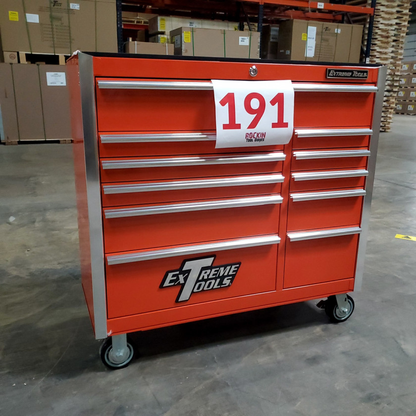 Scratch and Dent _ SD-EX4111RCOR _ Extreme Tools 41 in. 11 Drawer Roller Cabinet, Orange with Chrome Handles_03