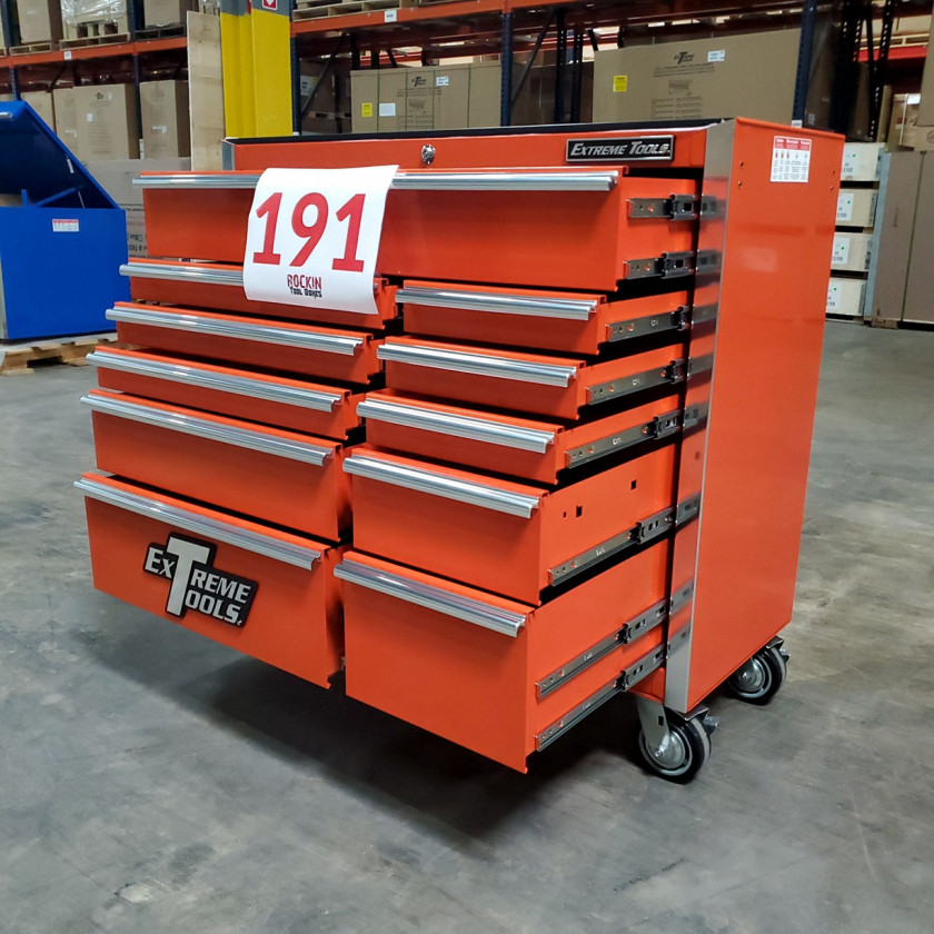 Scratch and Dent _ SD-EX4111RCOR _ Extreme Tools 41 in. 11 Drawer Roller Cabinet, Orange with Chrome Handles_05