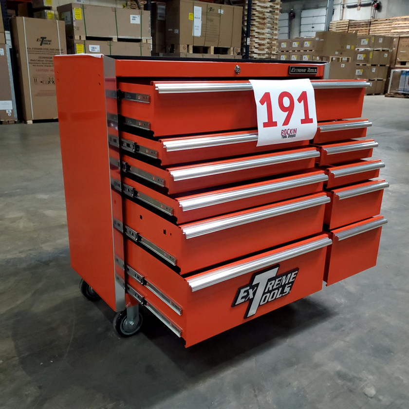 Scratch and Dent _ SD-EX4111RCOR _ Extreme Tools 41 in. 11 Drawer Roller Cabinet, Orange with Chrome Handles_06