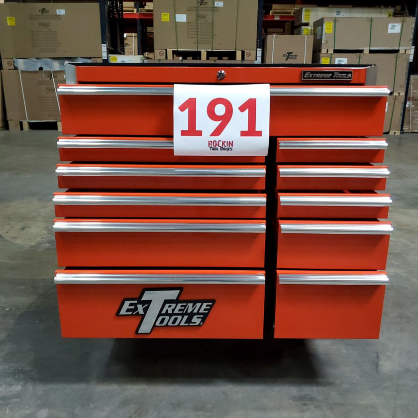 Scratch and Dent _ SD-EX4111RCOR _ Extreme Tools 41 in. 11 Drawer Roller Cabinet, Orange with Chrome Handles_07
