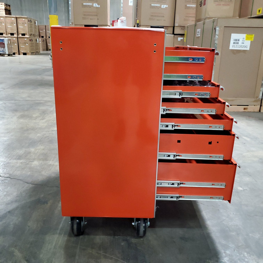 Scratch and Dent _ SD-EX4111RCOR _ Extreme Tools 41 in. 11 Drawer Roller Cabinet, Orange with Chrome Handles_08