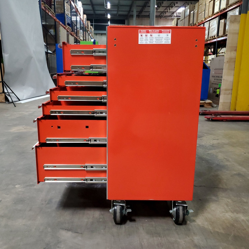 Scratch and Dent _ SD-EX4111RCOR _ Extreme Tools 41 in. 11 Drawer Roller Cabinet, Orange with Chrome Handles_09