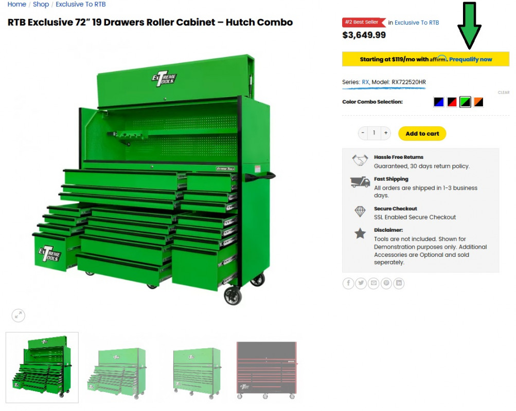 Rockin Toolboxes Affirm Financing