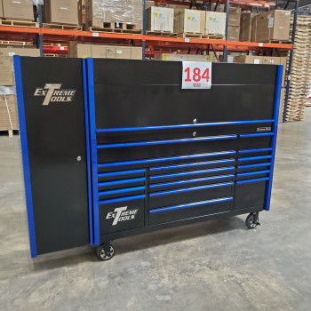 Scratch and Dent _ Extreme Tools DX 72 x 21 17-Drawer Roller Cabinet - Hutch and Side Locker Combo - SD-DX72218HRSLBKBL - Black with Blue Drawer Pulls_18