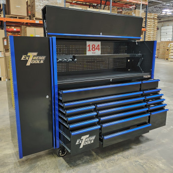 Scratch and Dent _ Extreme Tools DX 72 x 21 17-Drawer Roller Cabinet - Hutch and Side Locker Combo - SD-DX72218HRSLBKBL - Black with Blue Drawer Pulls_35