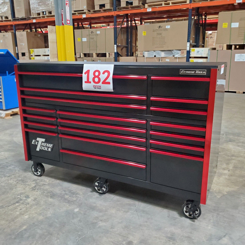 SD-RX722519RCBKRD - Showroom Demo - Extreme Tools RX Series 72 in. x 25 in. 19 Drawers Roller Cabinet, Orange, 150 lbs. Slides - Black-Red_01