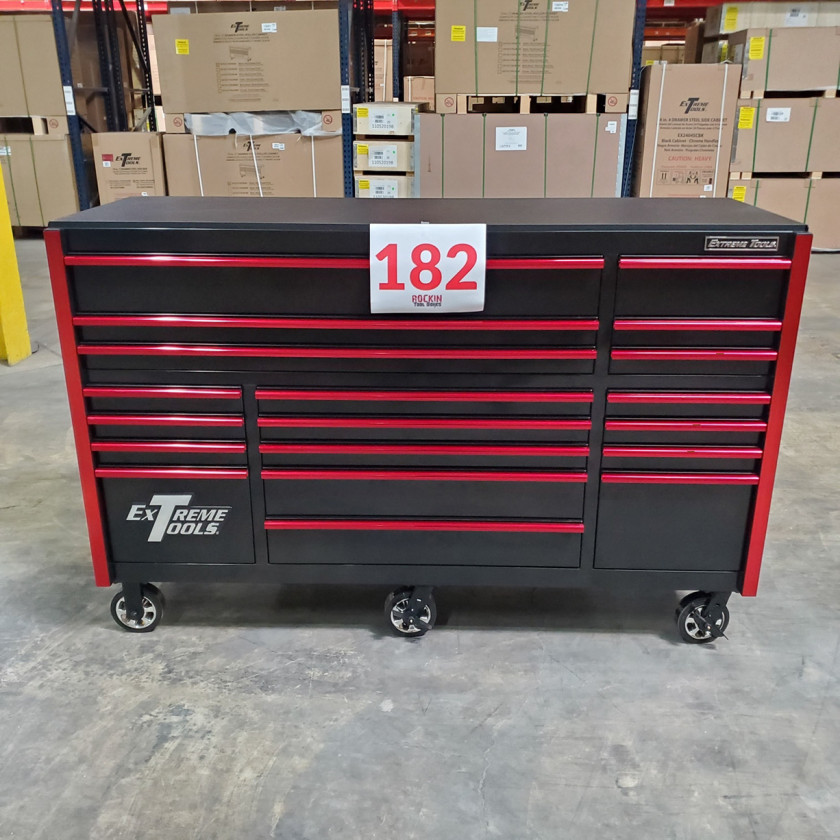 SD-RX722519RCBKRD - Showroom Demo - Extreme Tools RX Series 72 in. x 25 in. 19 Drawers Roller Cabinet, Orange, 150 lbs. Slides - Black-Red_03