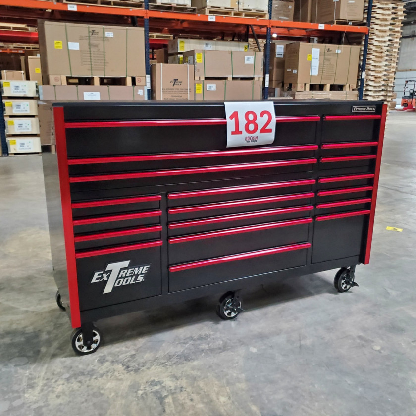 SD-RX722519RCBKRD - Showroom Demo - Extreme Tools RX Series 72 in. x 25 in. 19 Drawers Roller Cabinet, Orange, 150 lbs. Slides - Black-Red_04